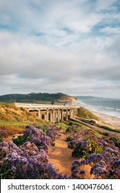 View of Torrey Pines Road and the Pacific Ocean in Del Mar, San Diego County, California