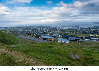view of Torshavn city and port in Faroe Islands.