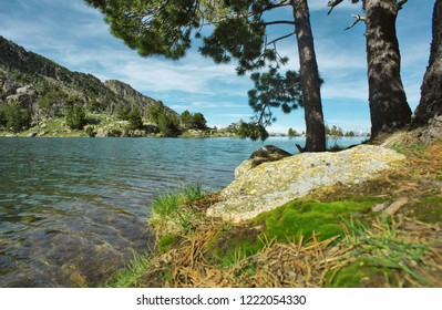 View of the Tort de Peguera lake from the J M Blanc refuge, Aiguestortes, Lleida, Catalonia