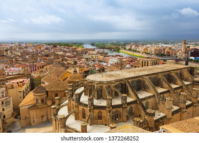 view of Tortosa with Cathedral from  castle. Catalonia, Spain