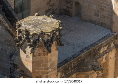 View of Tortosa Cathedral, Catalonia, Tarragona, Spain. Top view. Close-up