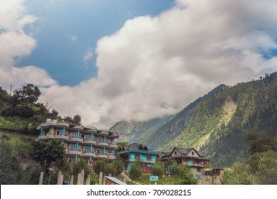A view of Tosh village from trail head parking lot in Himachal Pradesh, India.