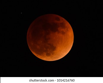 View of Total Lunar Eclipse on 31-January 2018 in Tokyo, japan