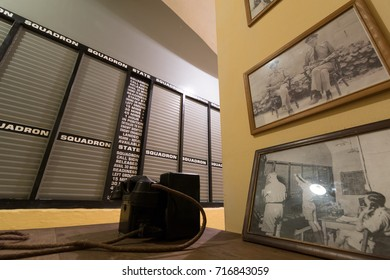View of the tote board arrangement in the RAF Sector Operations Room used to plan defense of Malta and invasion of Sicily during world war 2 Headquarters Lascaris War Rooms, Valletta, Malta, June 2017