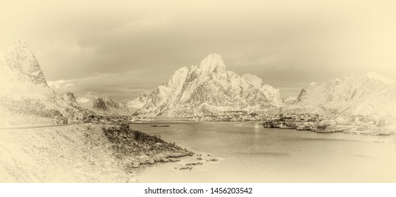 View from tourist viewpoint to Reinefjorden with mountains on background at sunrise - Reine, Lofoten Islands, Norway (stylized retro)