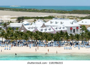The view of a tourist village and the beach on Grand Turk island (Turks and Caicos islands).