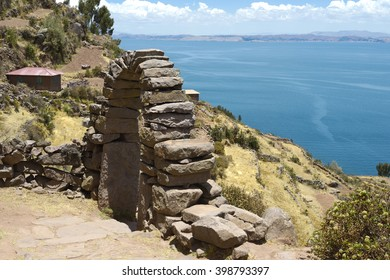 View toward Lake Titicaca from Taquile Island, Bolivia