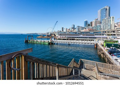 View toward Seattle Great Wheel and Piers from Colman Dock, Downtown, Seattle, Washington, USA, North America 21 September 2017