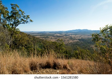 """View toward the town of Biggenden from """"The Bluff""""  walking track at Mount Walsh National Park in the North Burnett district of Queensland, Australia."""
