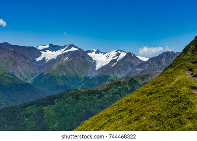 View towards anf from Mount Alyeska in Alaska United States of A