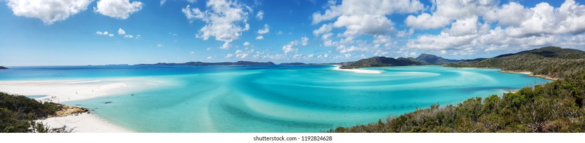 View towards the azure blue waters of Hill Inlet and Whitehaven Beach, from Hill Inlet Lookout.