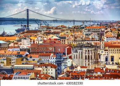 View towards Barrio Alto and 25th of April Bridge, Lisbon, Portugal