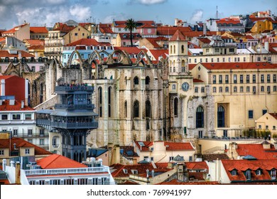 View towards Barrio Alto and the Ruins of the Convent of Our Lady of Mount Carmel, Lisbon, Portugal