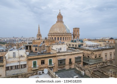 A view towards the Basilica of Our Lady of Mount Carmel in Valletta, Malta