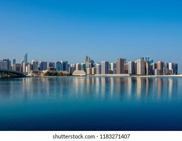 View towards the city center from Al Maryah Island, Abu Dhabi, United Arab Emirates