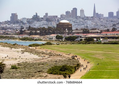 View towards Crissy Field; financial district in the background,