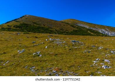 View towards Heukuppe mountain from Karl Ludwig Haus on Raxalpe