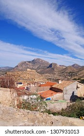 View towards the houses and the small village of Busot in Alicante province, Spain