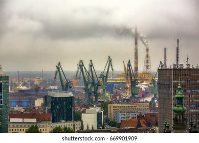 View towards the Industrial Areas with the Shipyards of Gdansk, Poland