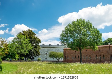 View towards Klenze Park on the Danube bank in Ingolstadt in summer