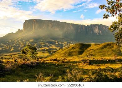 A view towards Kukenan while hiking Mount Roraima on the border between Venezuela, Brazil and Guyana