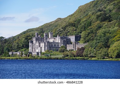 View towards Kylemore Abbey which was founded in 1920 on the grounds of Kylemore Castle, in Connemara, County Galway, Ireland