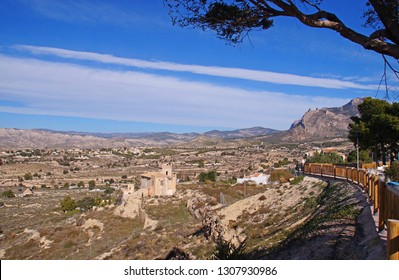 View towards the landscape in the Alicante province fra the small village of Busot, Spain