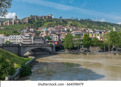 View towards Metekhi Bridge and the Old Town district of Tbilisi, the capital city of Georgia in Eastern Europe.