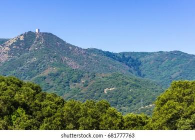 View towards Mount Umunhum from Almaden Quicksilver county park, south San Francisco bay area, Santa Clara county, California