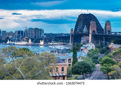 The view towards North Sydney from Sydney Observatory Park in New South Wales, Australia