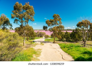 View towards Pink Lake, a popular salt lake along the Western Highway in Victoria, Australia