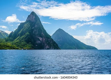 A view towards the Pitons in St Lucia in the morning