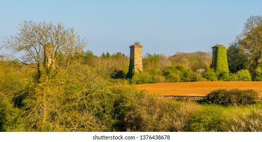 A view towards the remains of the railway viaduct on the outskirts of  Hook Norton, Oxfordshire, UK