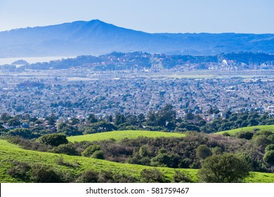 View towards Richmond from Wildcat Canyon Regional Park, East San Francisco bay, Contra Costa county, Marin County in the background, California