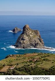 View towards the Roques de Anaga, Anaga Rural Park, Tenerife Island, Canary Islands, Spain