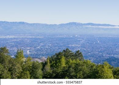 View towards San Jose and Cupertino, south San Francisco bay, California