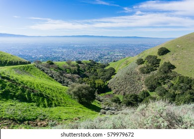 View towards San Jose from the hills of Sierra Vista Open Space Preserve, south San Francisco bay, California