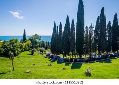 View towards the sea and coastline at Novy Afon (New Athos), Abkhazia
