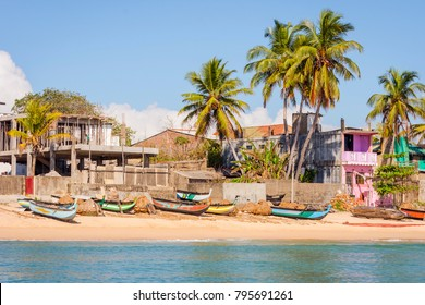 View towards sea front houses in Trincomalee, Sri Lanka