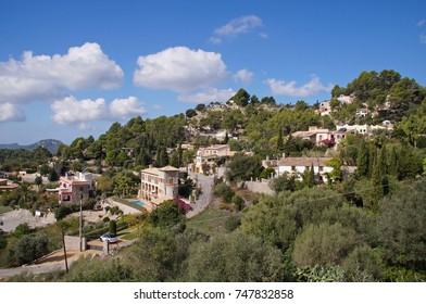 View towards the small beautiful town of Galilea on Majorca on a sunny day