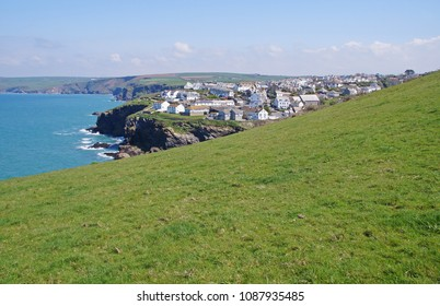 View towards the small fishing village of Port Isaac in the northern part of Cornwall, England