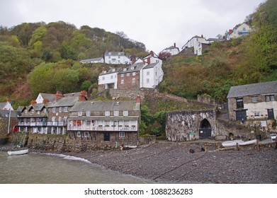 View towards the small fishing village running uphil, in the northern part of Devon, England