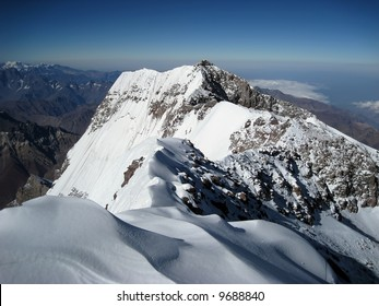 The view towards the south face from the summit of Aconcagua
