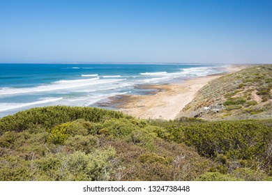 The view towards Thirteenth Beach from Barwon Heads Park on a hot summer's day in Barwon Heads, Victoria, Australia