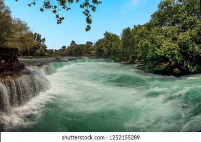 A view towards the top of the Manavgat falls on the Manavgat river near Side, Turkey in summertime