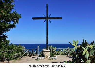 view towards Tyrrhenian sea from Tropea village,Italy