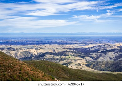 View towards the valley surrounding Stockton; Sierra mountains in the background; Mt Diablo State Park, Contra Costa county, San Francisco bay area, California