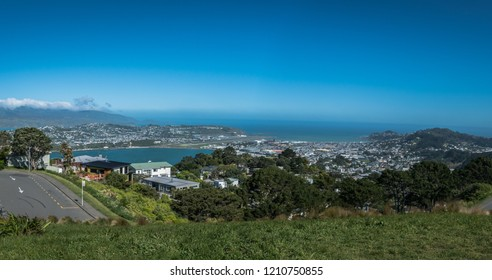 View towards Wellington Airport and Lyall Bay from Mount Victoria, Wellington New Zealand