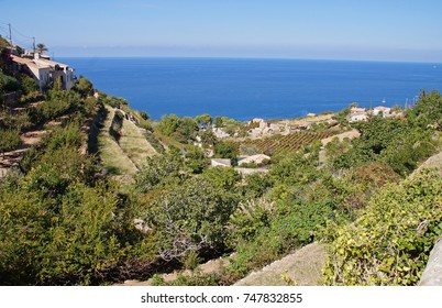 View towards the west coast of Majorca from a terrace in the small village of Galilea which is a magical place of great beauty