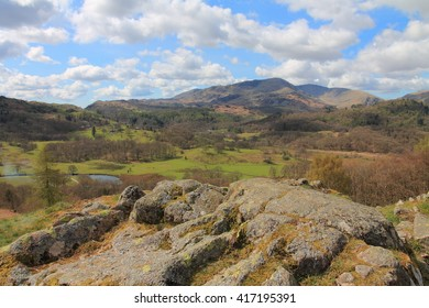View towards Wetherlam from Elterwater in the Lake District National Park Cumbria.